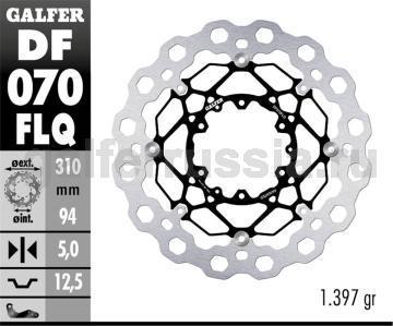 Тормозной диск для мотоциклов спорт/город DF070FLQ перед