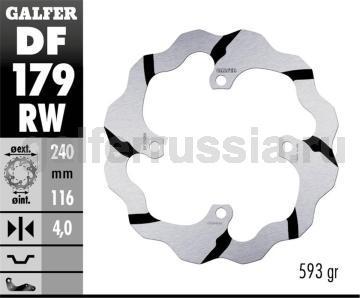 Лепестковый тормозной диск с боковыми проточками DF179RW зад