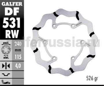 Лепестковый тормозной диск с боковыми проточками DF531RW зад