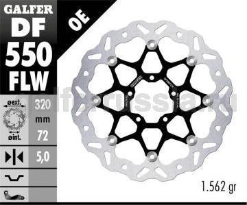 Лепестковый плавающий диск со стальной ступицей DF550FLW перед
