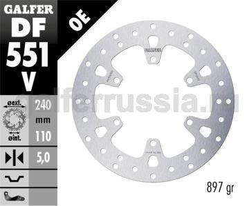 Тормозной диск для мотоциклов спорт/город DF551V зад