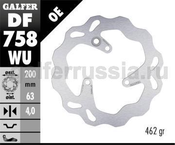 Тормозной диск для мотоциклов спорт/город DF758WU зад