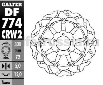 Тормозной диск для мотоциклов спорт/город DF 774 CRW2 перед