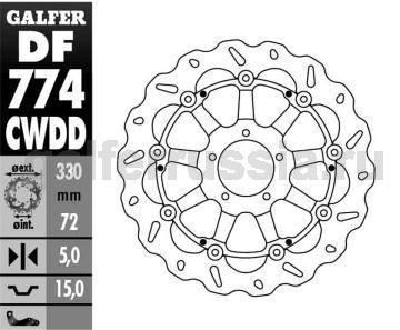 Тормозной диск для мотоциклов спорт/город DF774CWDD перед