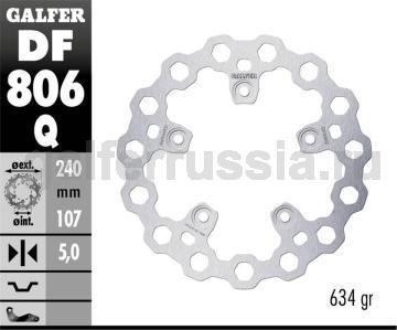 Тормозной диск для мотоциклов спорт/город DF806Q зад
