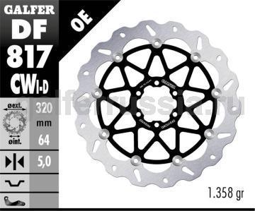 Тормозной диск для мотоциклов спорт/город DF817CWD/I перед