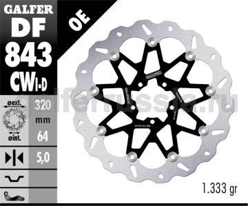 Тормозной диск для мотоциклов спорт/город DF843CWD/I перед