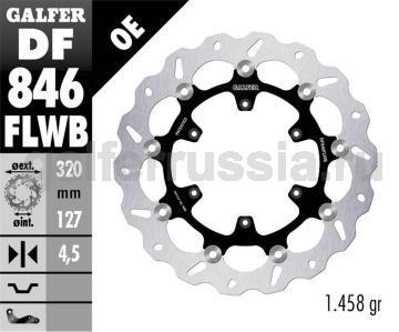 Тормозной диск для мотоциклов спорт/город DF846FLWB перед