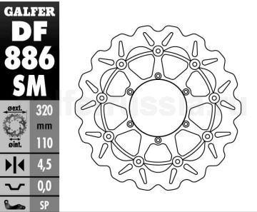 Плавающий лепестковый диск DF 886 SM перед