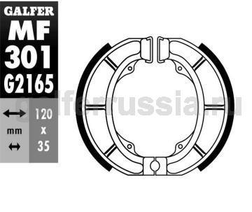 Колодка для тормозов барабанного типа MF301G2165 перед или зад