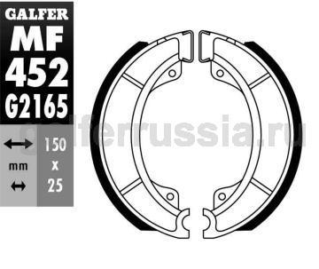 Колодка для тормозов барабанного типа MF 452 G2165 перед или зад