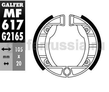 Колодка для тормозов барабанного типа MF617G2165 перед