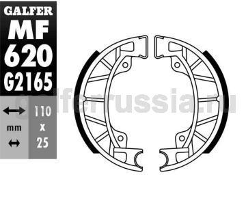 Колодка для тормозов барабанного типа MF 620 G2165 перед