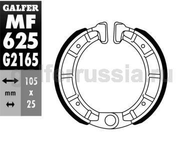 Колодка для тормозов барабанного типа MF 625 G2165 перед или зад