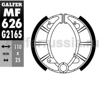 Колодка для тормозов барабанного типа MF626G2165 перед или зад
