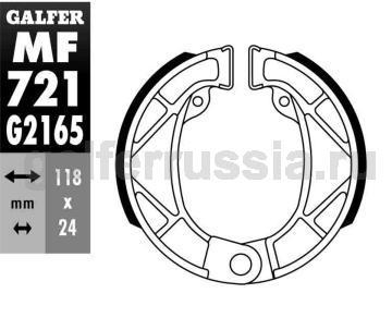 Колодка для тормозов барабанного типа MF 721 G2165 зад