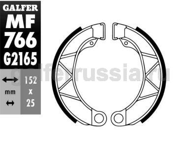 Колодка для тормозов барабанного типа MF 766 G2165 перед или зад
